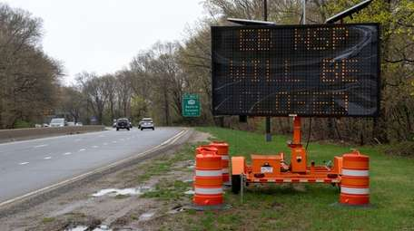 A road sign alerting drivers to the upcoming