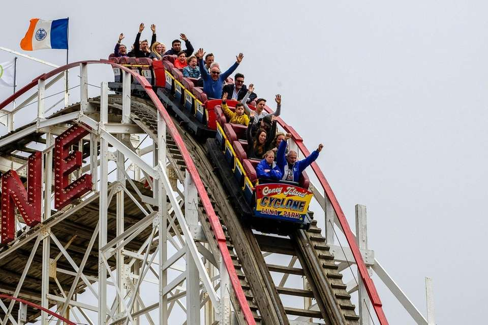 The first 92 guests ride the Cyclone for