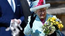Britain's Queen Elizabeth leaves the annual Easter Sunday