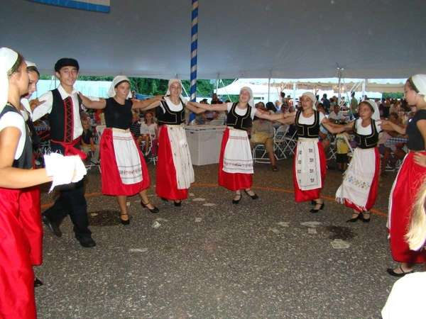 The Hamptons Hellenic Dancers perform for a crowd