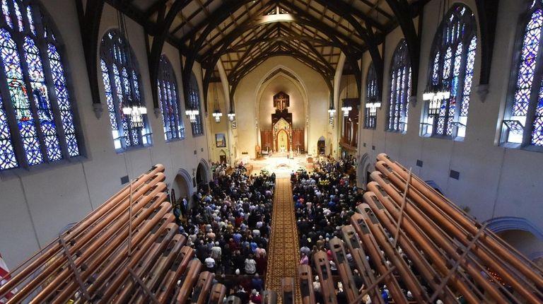 A view through the church organ pipes of