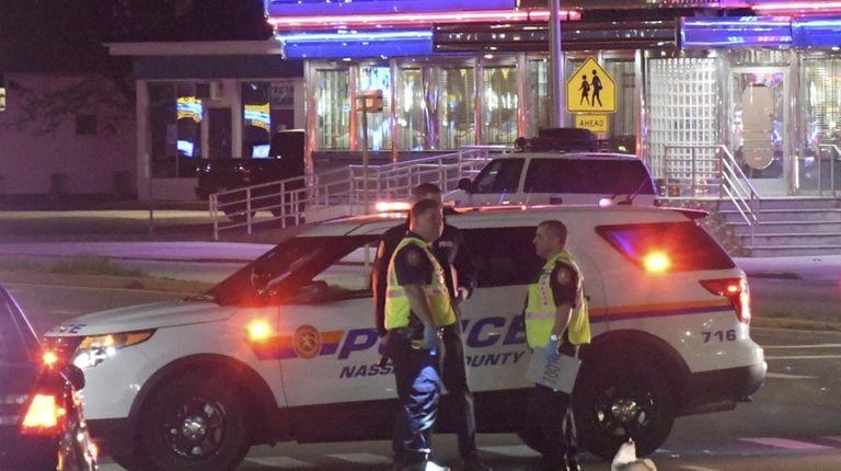 Nassau County police at the crash scene on