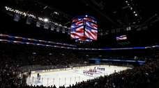 A general view during the national anthem of