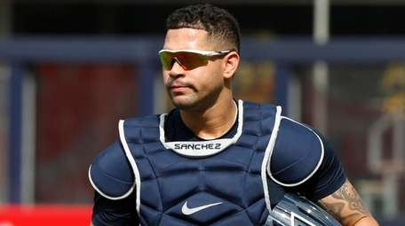 Gary Sanchez of the Yankees looks on before