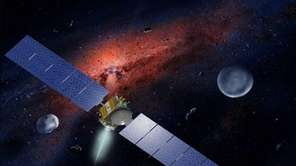 Artwork of NASA's Dawn spacecraft, which is approaching