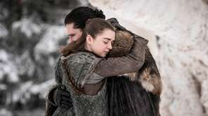 Actors Maisie Williams and Kit Harington in a