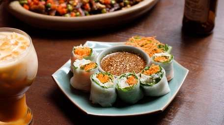 Thai Angel Rolls, made with roasted chicken, shrimp,