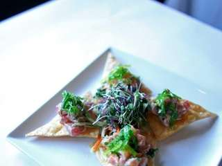 Tuna and miso-soy salmon tartare is served at