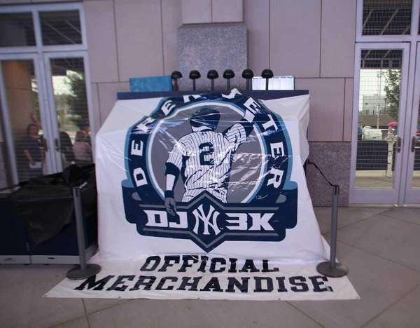 A covered souvenir stand at Yankee Stadium in