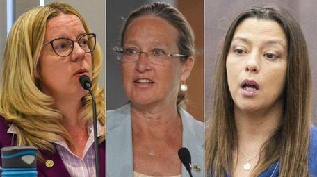 Suffolk County legislators, from left, Kara Hahn and