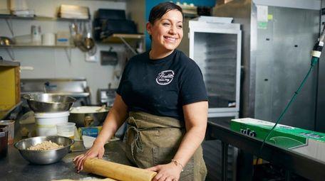 Danna Abrams makes cinnamon buns at Hometown Bake