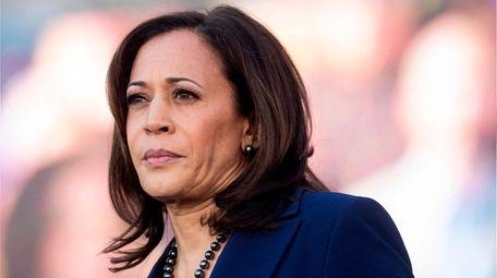 California Senator Kamala Harris looks on during a