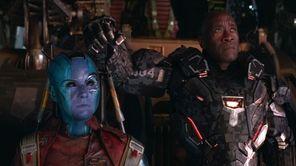 Nebula (Karen Gillan), left, and War Machine/James Rhodey