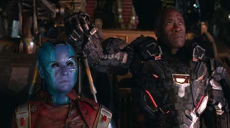 Nebula (Karen Gillan), left, and War Machine/James Rhodey