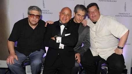 Actor Vincent Pastore, left, with singer Michael Martocci,