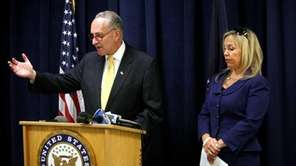 Senator Charles Schumer and Joni Kovacs, who lost