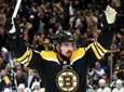 Marcus Johansson #90 of the Boston Bruins celebrates