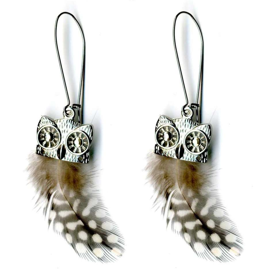 Owl earrings with real feathers from K-Mart stores
