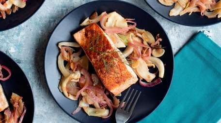 Seared salmon with sautéed fennel and onion.