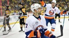 Jordan Eberle of the Islanders celebrates after scoring