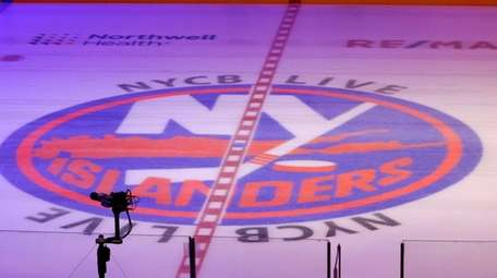 The Islanders logo at center ice during the