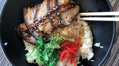 Chashu don, or pork belly over rice, at