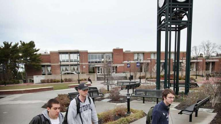 Students make their way across the campus of