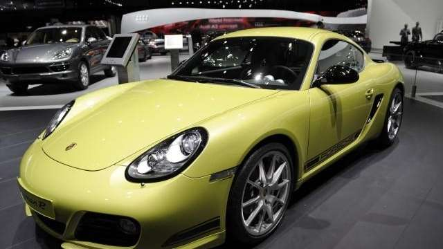 A Porsche Cayman R sits on display during