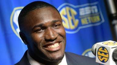 LSU linebacker Devin White is interviewed during SEC