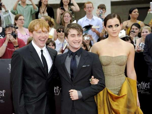 Cast members Rupert Grint, left, Daniel Radcliffe and