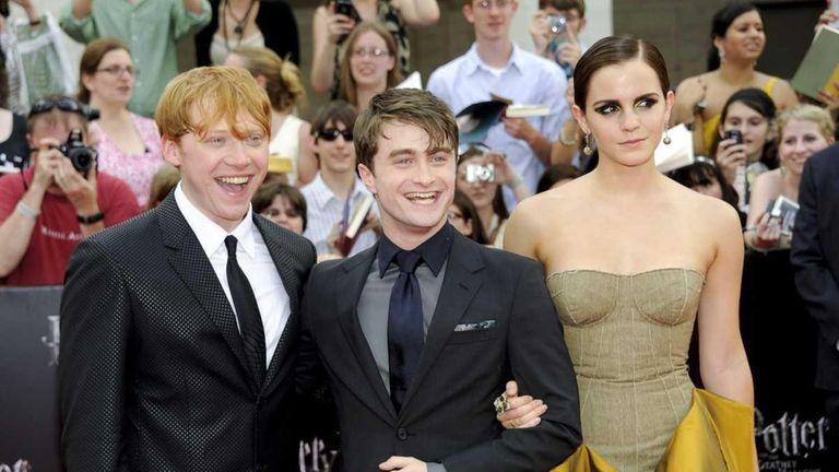 Cast members Rupert Grint, left, Daniel Radcliffe and
