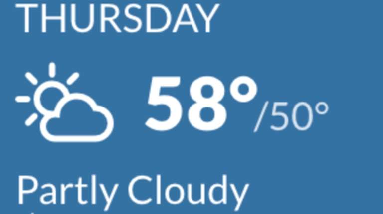 The weather forecast for Thursday.