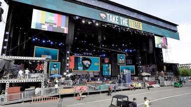 Work continues on the NFL Draft stage Tuesday,