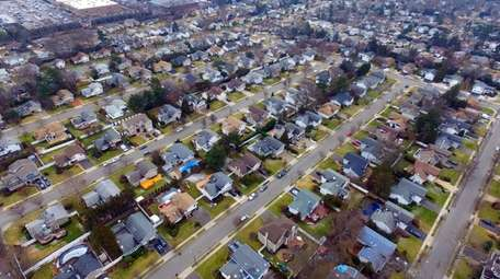 An aerial view of a row of houses