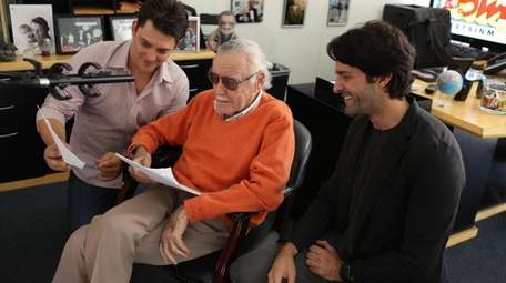 Marvel Comics icon Stan Lee, center, with Luke