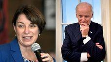 Democratic presidential candidates Andrew Yang, Sen. Amy Klobuchar