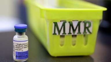 A measles, mumps and rubella vaccine on a