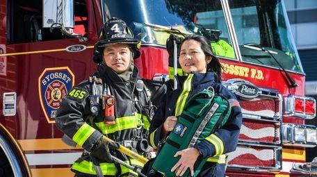 Volunteer firefighter Bo Tian and volunteer emergency medical