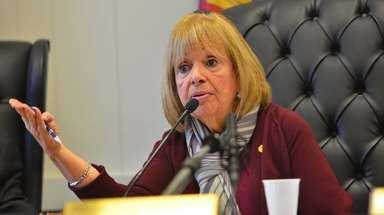 Islip Town Supervisor Angie Carpenter speaks at a