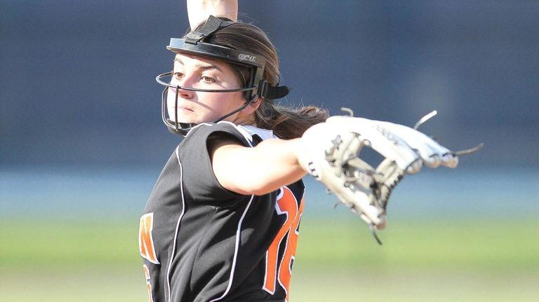 Babylon's Alexa Tenety (16) pitches in the sixth
