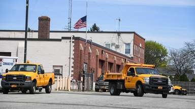 Town of Oyster Bay utility vehicles move around