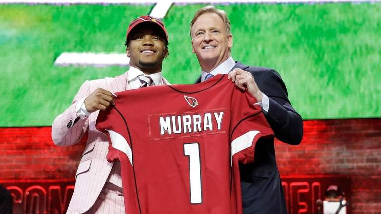 Oklahoma quarterback Kyler Murray poses with NFL Commissioner