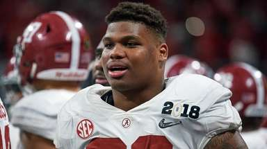 Alabama defensive lineman Quinnen Williams looks on during