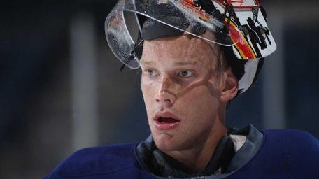 Anders Nilsson of the Islanders takes a break