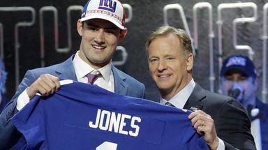 Duke quarterback Daniel Jones poses with NFL Commissioner
