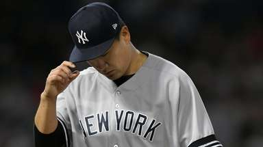 Masahiro Tanaka of the Yankees leaves the game
