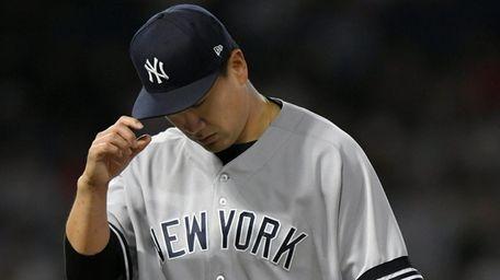 Masahiro Tanaka of the Yankees leaves the game