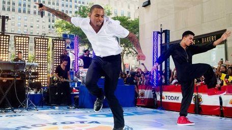 Singer Chris Brown performs on NBC's