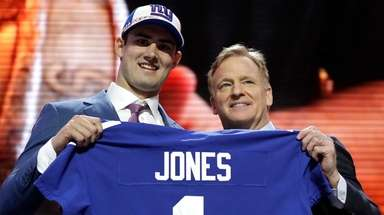 Duke quarterback Daniel Jones poses with NFL Commissioner