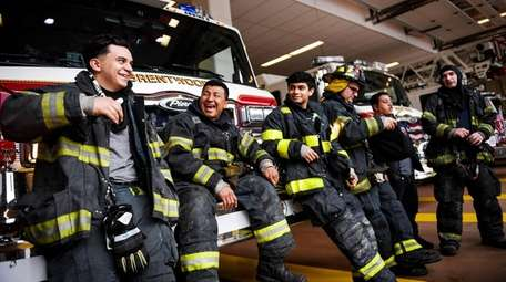 Brentwood's Engine Company 5, from left, Omar Hernandez,
